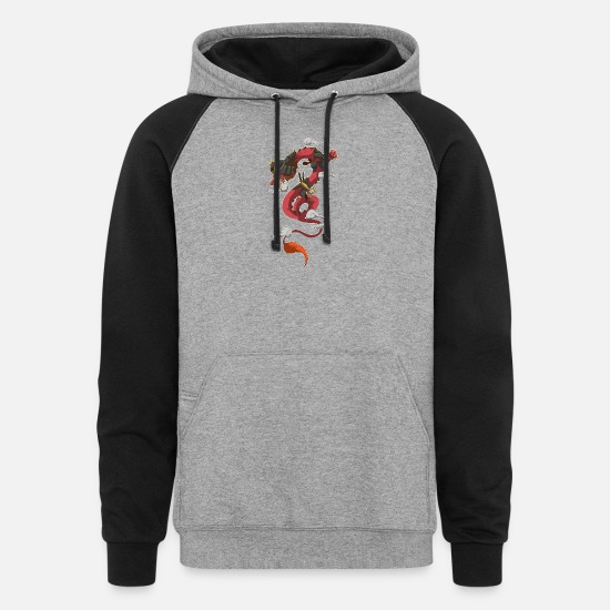 Samurai Hoodies & Sweatshirts - Samurai Dragon Fly Sky Mythic China Asia Japan - Unisex Colorblock Hoodie heather gray/black