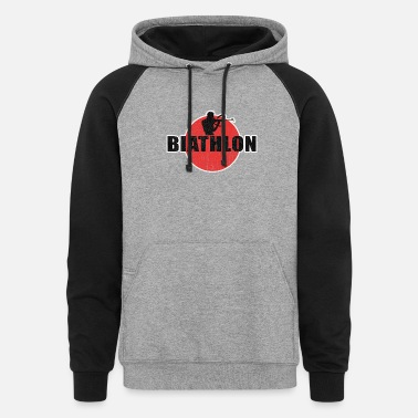 Winter Biathlon, biathlete, cross-country skiing - Unisex Colorblock Hoodie