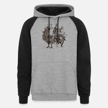 Art Abstract Rooster Silhouette - Unisex Colorblock Hoodie