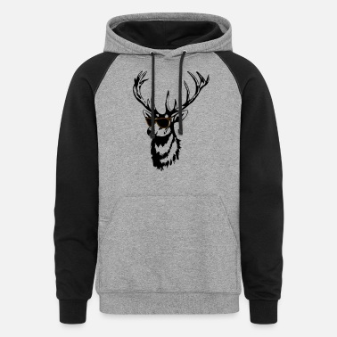 Deer Head Deer - Deer Head- Cool Deer - Unisex Colorblock Hoodie