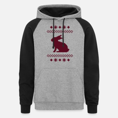 Christmas norwegian bunny christmas rabbit hare knitting - Unisex Colorblock Hoodie