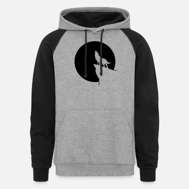 Love Wolves Howling wolf full moon space galaxy gift dog trend - Unisex Colorblock Hoodie
