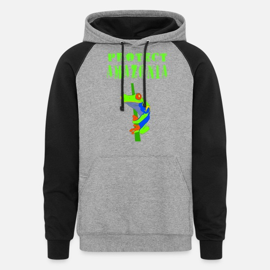 Protection Of The Environment Hoodies & Sweatshirts - Protect Amazonia. Tree frog. Amazon rainforest. - Unisex Colorblock Hoodie heather gray/black