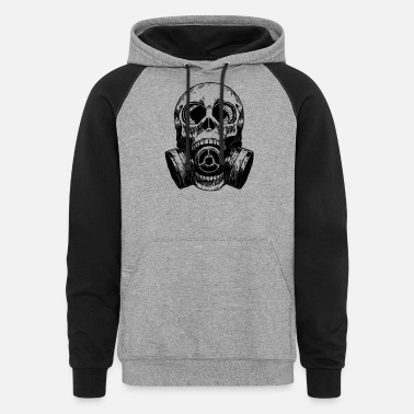 Gas Skull Mask gas mask white - Unisex Colorblock Hoodie