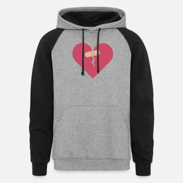 Healing broken heart healed by patch - Unisex Colorblock Hoodie