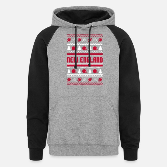 Funny Hoodies & Sweatshirts - New England Chritmas sweater - Unisex Colorblock Hoodie heather gray/black