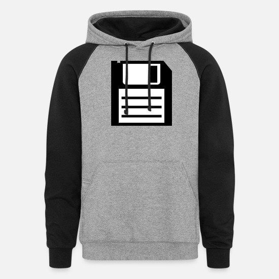 Virtual Hoodies & Sweatshirts - floppy disk media computer nerd - Unisex Colorblock Hoodie heather gray/black
