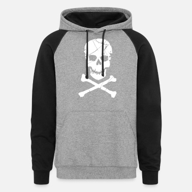 Crossbones Skull and Crossbones Pirate Neon - Unisex Colorblock Hoodie