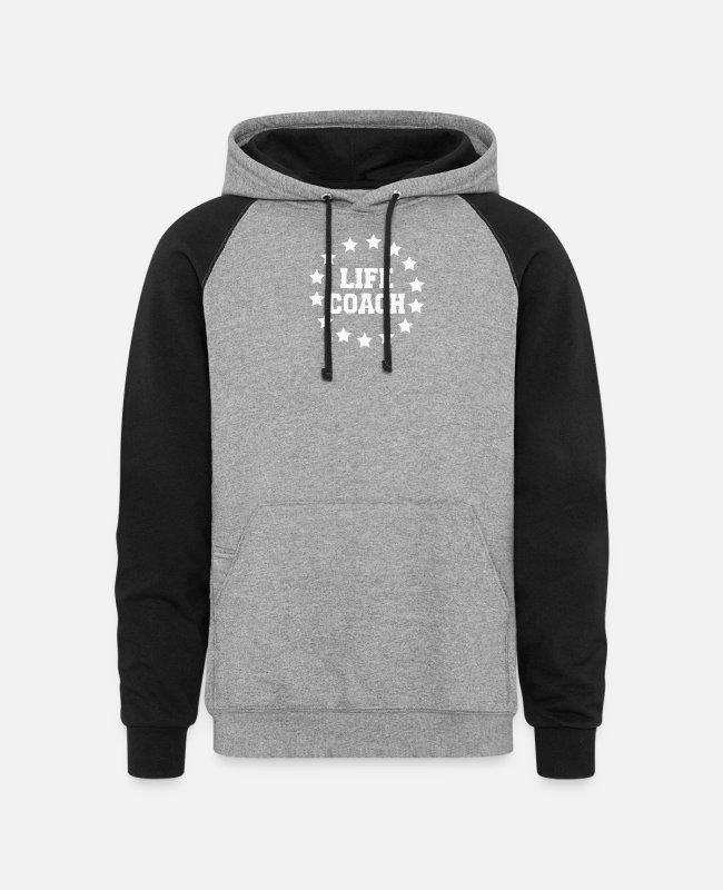 Quote Hoodies & Sweatshirts - Life Lifecoach - Unisex Colorblock Hoodie heather gray/black