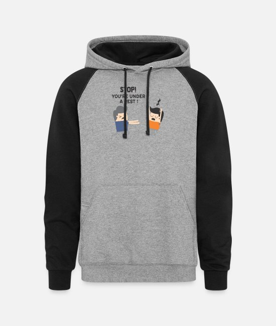 Rest Hoodies & Sweatshirts - Stop - You're Under A Rest - Unisex Colorblock Hoodie heather gray/black