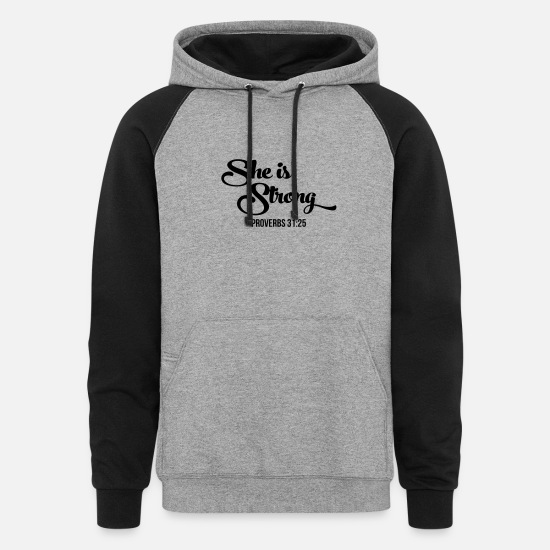 Christian Hoodies & Sweatshirts - She Is Strong, Christian, Faith, Jesus, Religion - Unisex Colorblock Hoodie heather gray/black