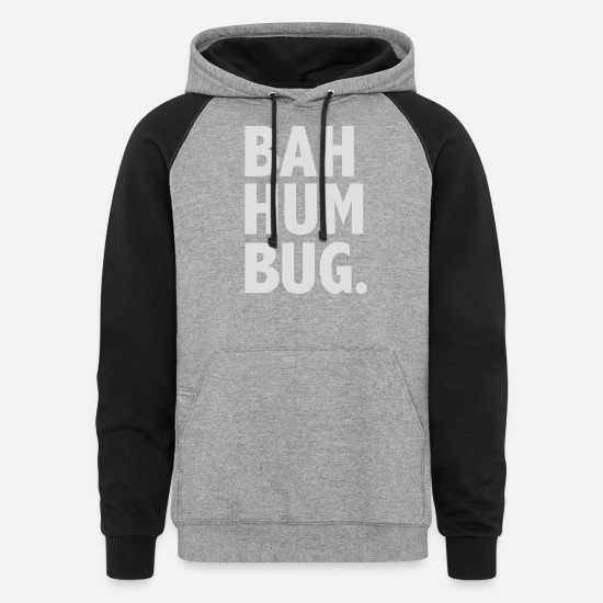 Man Hoodies & Sweatshirts - Bah Hum Bug - Unisex Colorblock Hoodie heather gray/black