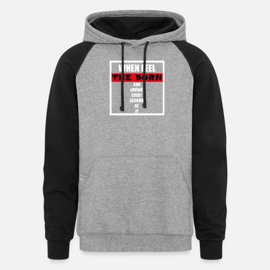Quotes Hoodies & Sweatshirts - Sports Gym Motivation Quote - Unisex Colorblock Hoodie heather gray/black