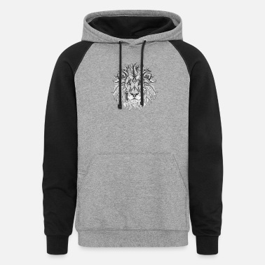 Ethnic Tribal Lion BW - Unisex Colorblock Hoodie