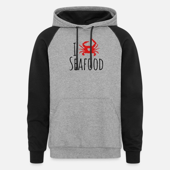 Seafood Hoodies & Sweatshirts - Seafood Lover - Unisex Colorblock Hoodie heather gray/black