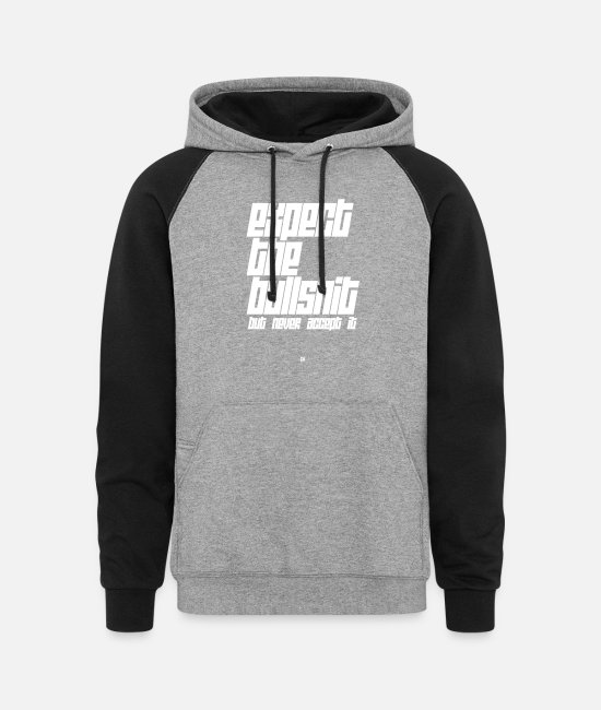 Gw Hoodies & Sweatshirts - Expect The Bullshit - Unisex Colorblock Hoodie heather gray/black