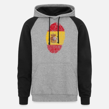 Spain fingerprint i love wurzeln spain - Unisex Colorblock Hoodie