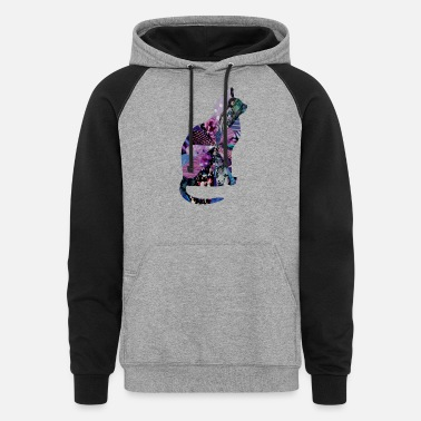 Cat Collage artTS collage art KITTY CAT purplz - Unisex Colorblock Hoodie