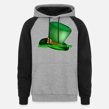 Green Text Happy St Patrick's day, Green text - Unisex Colorblock Hoodie