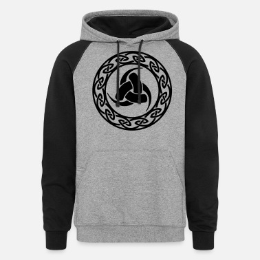Celtic Symbol Triple Horn of Odin, celtic endless knot - Unisex Colorblock Hoodie