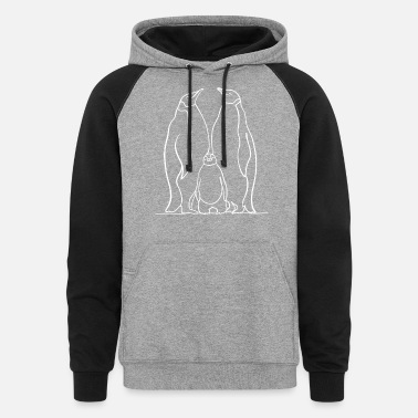 Penguin Family in white line drawing - Unisex Colorblock Hoodie