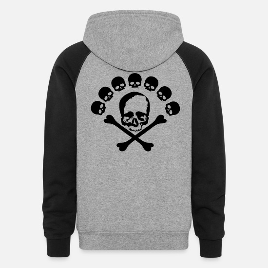 Skull Hoodies & Sweatshirts - skull and bones - Unisex Colorblock Hoodie heather gray/black