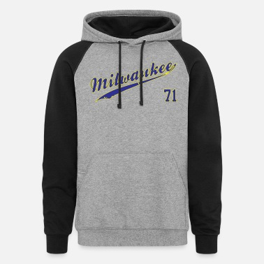 Milwaukee Brewers Milwaukee Brewers #71 Bob Uecker - Unisex Colorblock Hoodie