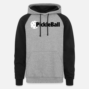 Pickleball Baseball Ha Classic Pickleball Hat and T Shirt Design - Unisex Colorblock Hoodie