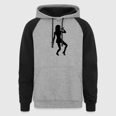 Singer and Dancer Silhouette vector design - Colorblock Hoodie