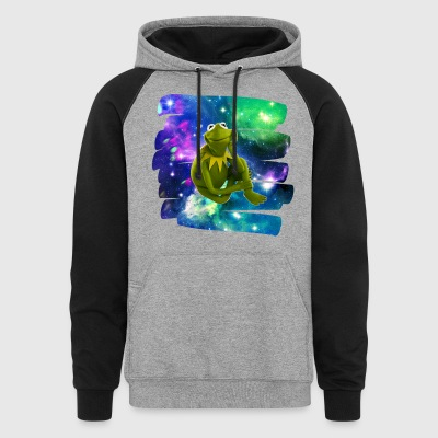 Kermit the frog in the never ending void. - Colorblock Hoodie