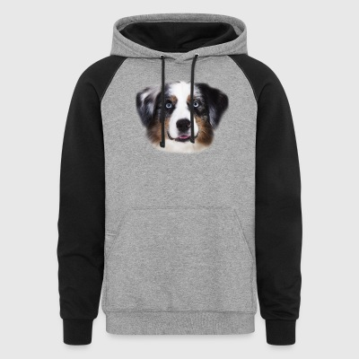 Australian Shepherd Face Shirt - Colorblock Hoodie