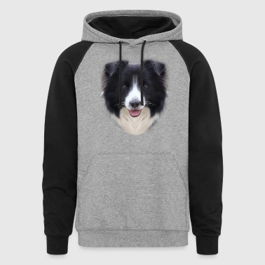Border Collie Face T Shirt - Colorblock Hoodie