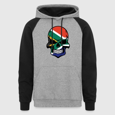 South African Flag Skull Cool South Africa Skull - Colorblock Hoodie