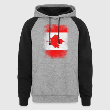 Canada Flag Proud Canadian Vintage Distressed - Colorblock Hoodie