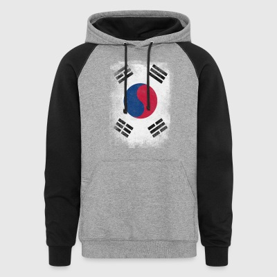 South Korea Flag Proud Korean Vintage Distressed - Colorblock Hoodie
