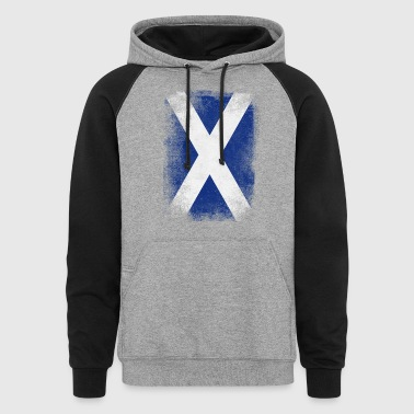 Scotland Flag Proud Scottish Vintage Distressed - Colorblock Hoodie