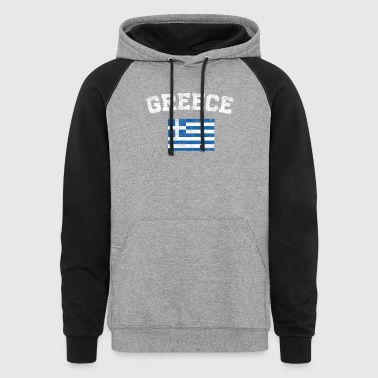 Greece Flag Shirt - Vintage Greece T-Shirt - Colorblock Hoodie