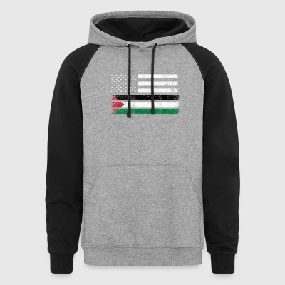 Palestinian American Flag - USA Palestine Shirt - Colorblock Hoodie