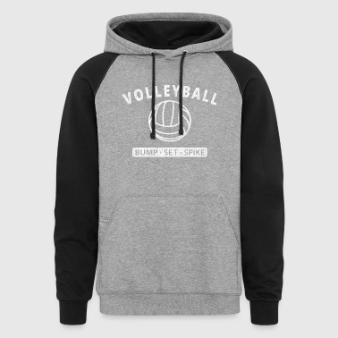 White Volleyball Bump Set Spike - Colorblock Hoodie