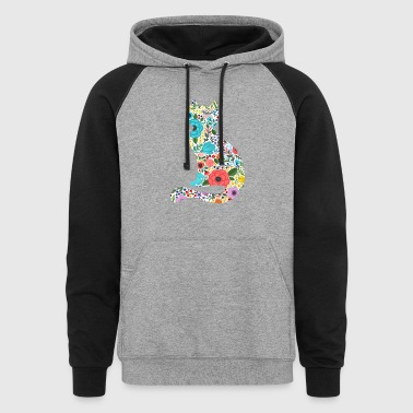 Cat Shirt - Cat Flower Shirt - Colorblock Hoodie