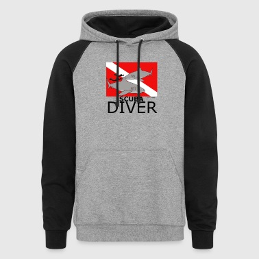 Scuba Divers with Sharks - Colorblock Hoodie