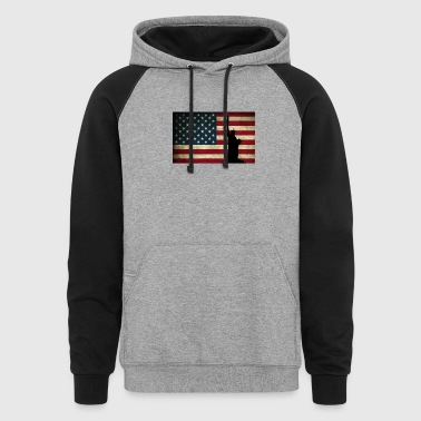 American Flag Shirt Statue of Liberty - Colorblock Hoodie