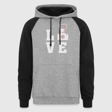 love photography photographer camera t-shirt - Colorblock Hoodie