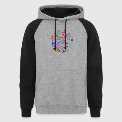 music signs - music notes - Colorblock Hoodie