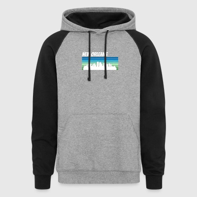 Retro New Orleans Skyline - Colorblock Hoodie