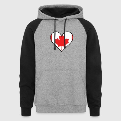 Canadian Flag Heart - Colorblock Hoodie
