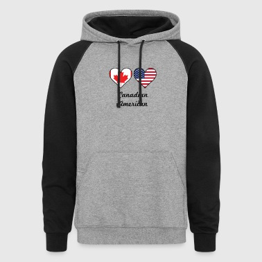 Canadian American Flag Hearts - Colorblock Hoodie