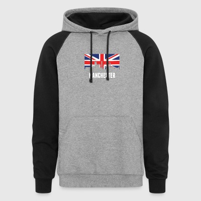 British Flag Manchester Skyline - Colorblock Hoodie