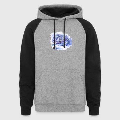 winter-landscape-drawing-painting-watercolor - Colorblock Hoodie