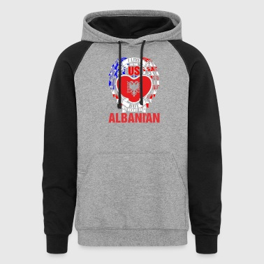 I Live In The Us But My Heart Is In Albanian - Colorblock Hoodie